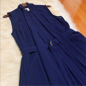 Michael Kors Pleated Tie Neck Shift Dress